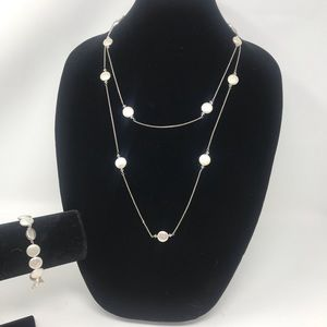 "Jewelry - S. Silver Mother of Pearl Stunning 26"" Necklace"
